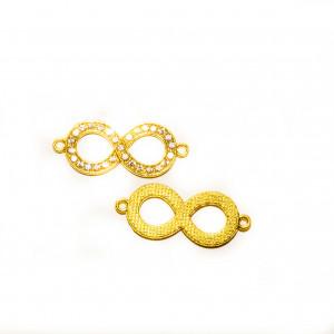 Коннектор знак бесконечность, под золото со стразами, 38х15мм, 3,3 г.