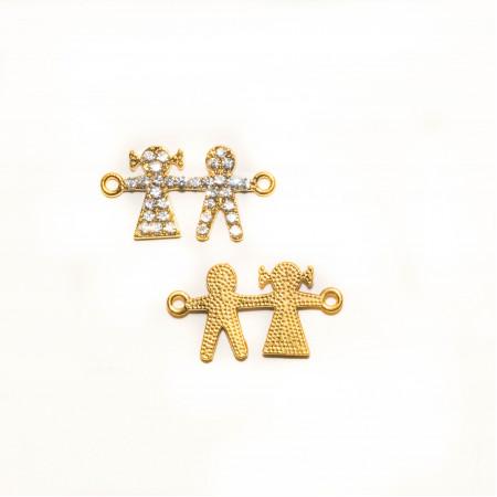 Коннектор девочка с мальчиком, под золото со стразами, 32х18мм, 2,8 г.
