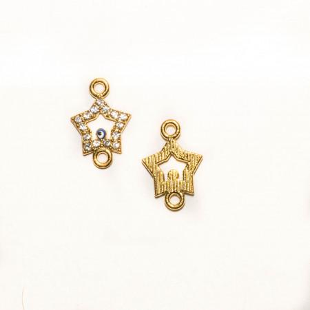 Коннектор звезда с глазком, под золото со стразами, 19х13мм, 0,9 г.