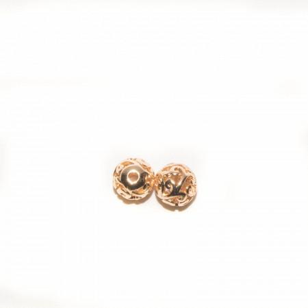 Бусина круглая с узором , под золото, 10х10 мм, 1.2г