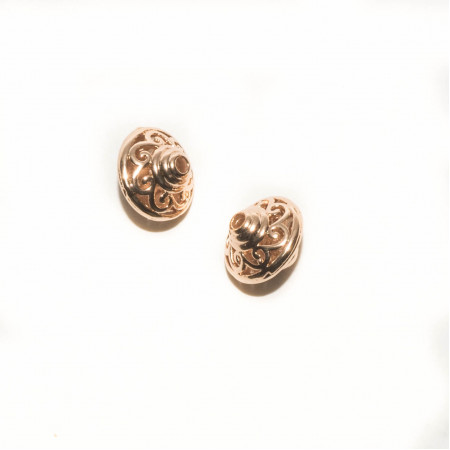 Бусина круглая с узором , под золото, 13х11 мм, 1.9 г