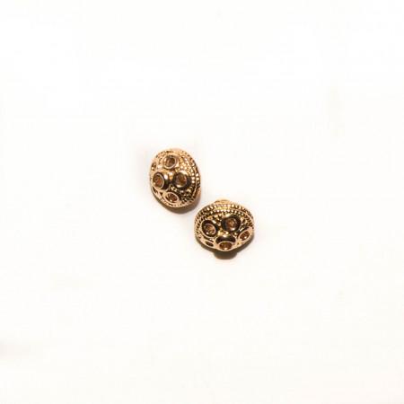 Бусина круглая с узором , под золото, 7х8 мм, 0.9 г