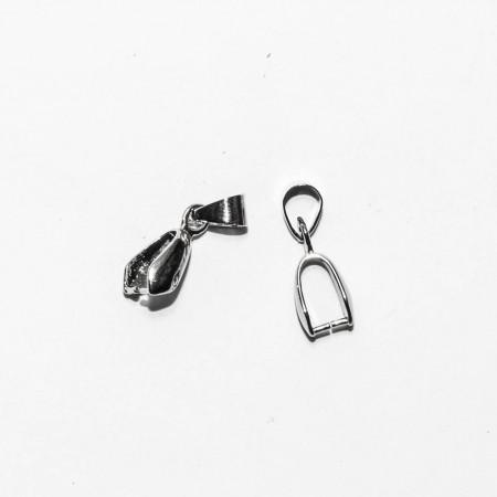 Бейлы (держатели) зажимной с подвижной петелькой, под серебро, 18х5мм, 0.6г