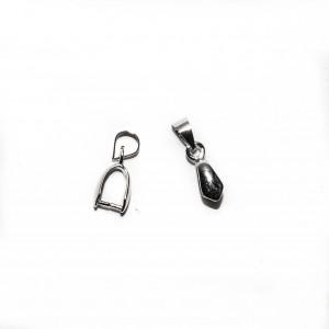 Бейлы (держатели) зажимной с подвижной петелькой, под серебро, 15х5мм, 0.4г