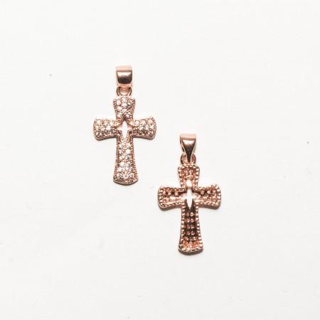 Подвеска крест со стразами, под золото розовое, Milano LUX, 25х13мм, 1.5г