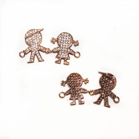 Коннектор девочка и мальчик подвижные со стразами, под золото розовое, Milano LUX, 30х16мм, 2.7г