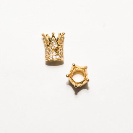 Бусина корона, под золото со стразами, Milano LUX, 12х9мм, 1.8г