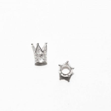Бусина корона, под серебро со стразами, Milano LUX, 12х9мм, 1.8г