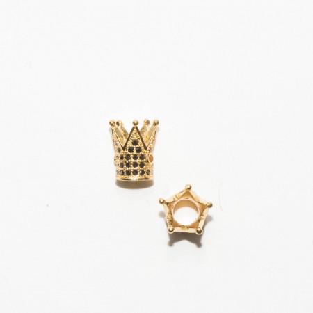 Бусина корона, под золото с темными стразами, Milano LUX, 12х9мм, 1.8г