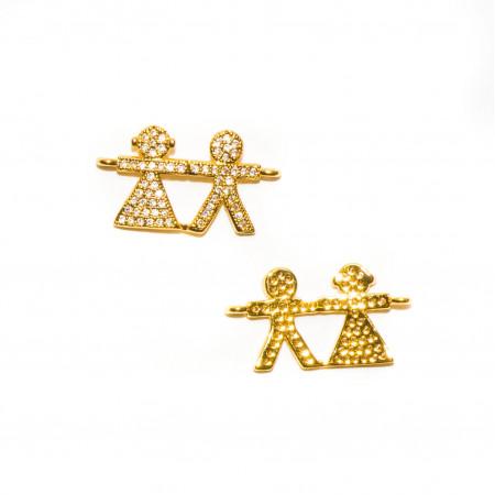 Коннектор девочка и мальчик , под золото  со стразами, Milano LUX, 23х12мм, 1.3г