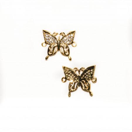 Коннектор бабочка, под золото со стразами, Milano LUX, 21х17мм, 2.1г