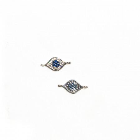 Коннектор всевидящее око, под серебро со стразами, Milano LUX, 16х7мм , 0.5г