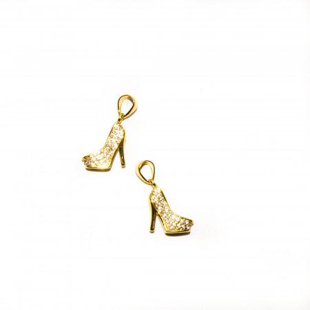 Подвеска туфелька, под золото со стразами, Milano LUX, 19х10мм, 1.3г