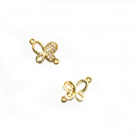 Коннектор бабочка, под золото со стразами, Milano LUX, 14х10мм, 0.8г