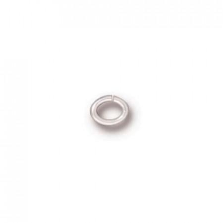 Колечко соединительное, овальное разъёмное малое, цена за 10 штук, посеребренное , 5х4мм