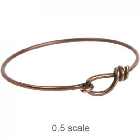 Браслет, браслет провод с крючком и петлей 65 мм, античная медь, 210х65мм