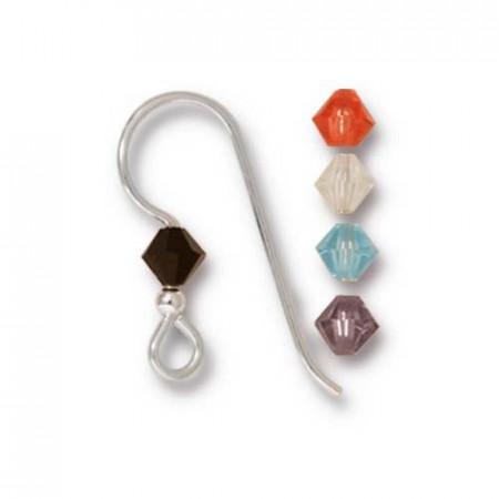 Швенза, крючок с кристаллом  микс 2мм Capri, посеребренная, 18х19мм