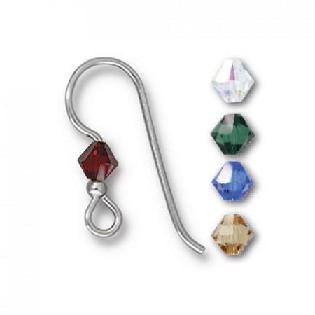 Швенза, крючок с кристаллом  микс 2мм Holiday, посеребренная, 18х19мм