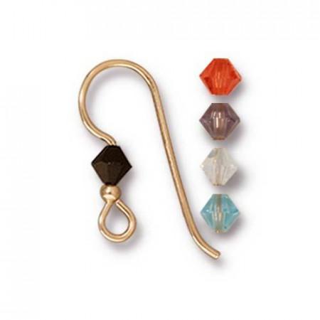 Швенза, крючок с кристаллом  микс 2мм Capri, позолоченная, 18х19мм