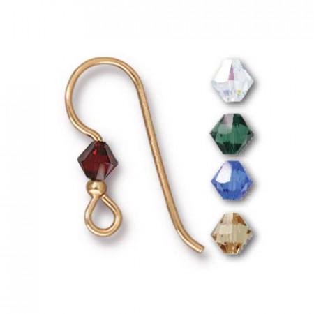 Швенза, крючок с кристаллом  микс 2мм Holiday, позолоченная, 18х19мм