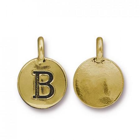 Подвеска шарм, буква английского алфавита B, позолоченная с чернением, 16х12мм