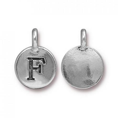 Подвеска шарм, буква английского алфавита F, посеребренная с чернением, 16х12мм