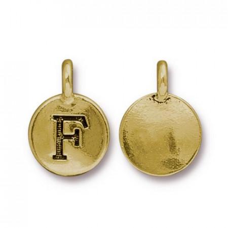 Подвеска шарм, буква английского алфавита F, позолоченная с чернением, 16х12мм