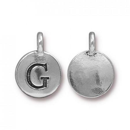 Подвеска шарм, буква английского алфавита G, посеребренная с чернением, 16х12мм