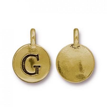 Подвеска шарм, буква английского алфавита G, позолоченная с чернением, 16х12мм