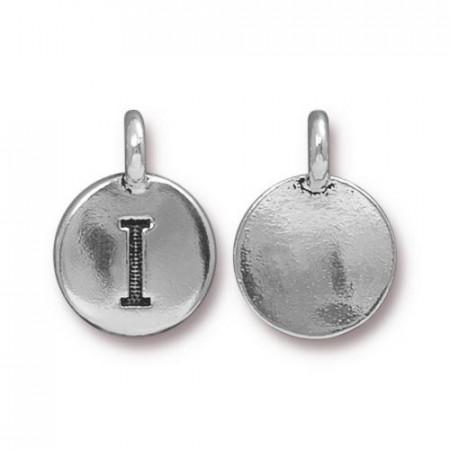 Подвеска шарм, буква английского алфавита I, посеребренная с чернением, 16х12мм