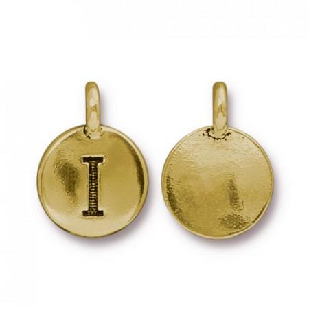 Подвеска шарм, буква английского алфавита I, позолоченная с чернением, 16х12мм