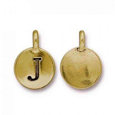 Подвеска шарм, буква английского алфавита J, позолоченная с чернением, 16х12мм