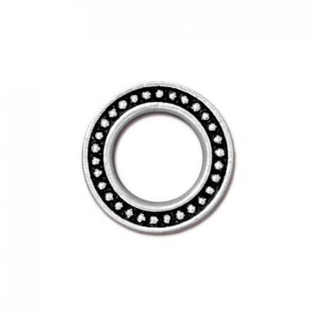 Соединитель коннектор, кольцо с пупырышками, посеребренный с чернением, 16,1мм/9,2мм