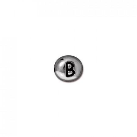 Бусина металлическая, двусторонняя с буквой английского алфавита B, родий, 6мм