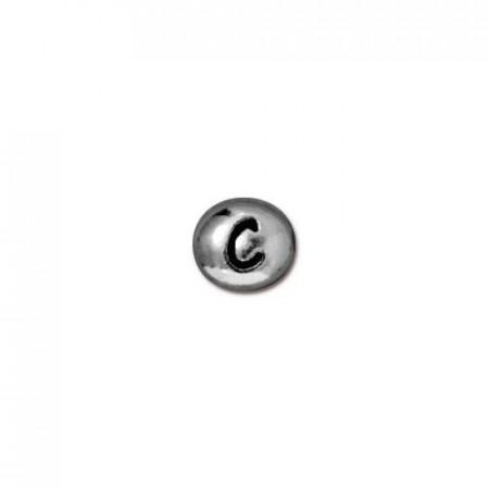 Бусина металлическая, двусторонняя с буквой английского алфавита C, родий, 6мм