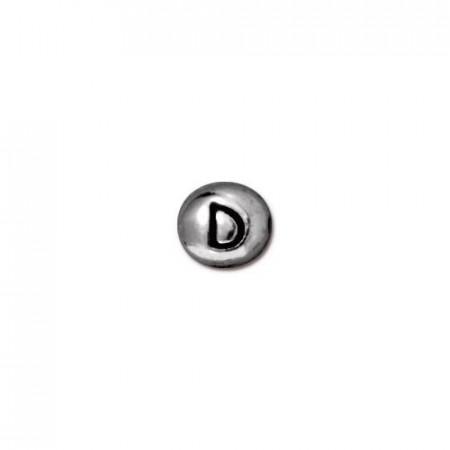 Бусина металлическая, двусторонняя с буквой английского алфавита D, родий, 6мм