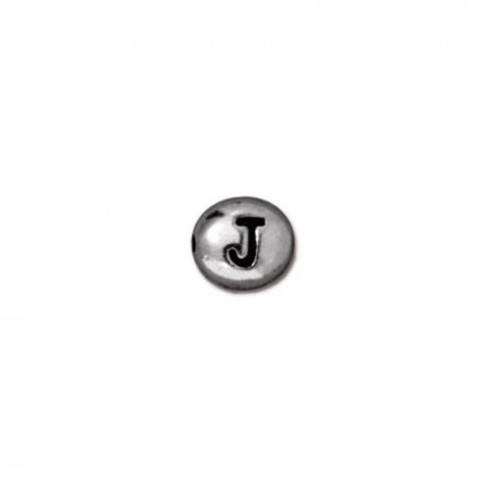 Бусина металлическая, двусторонняя с буквой английского алфавита J, родий, 6мм