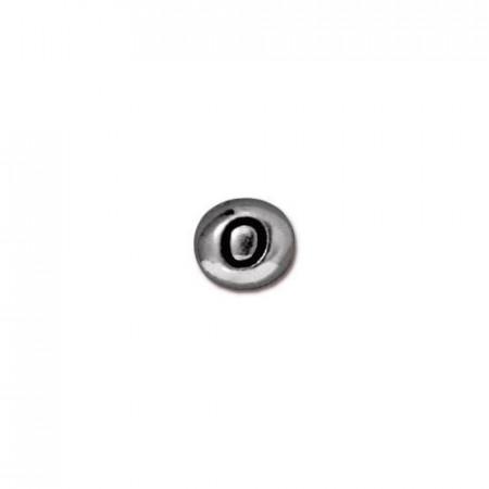 Бусина металлическая, двусторонняя с буквой английского алфавита O, родий, 6мм
