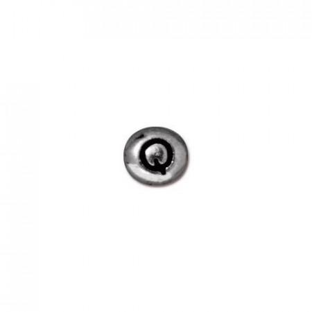 Бусина металлическая, двусторонняя с буквой английского алфавита Q, родий, 6мм