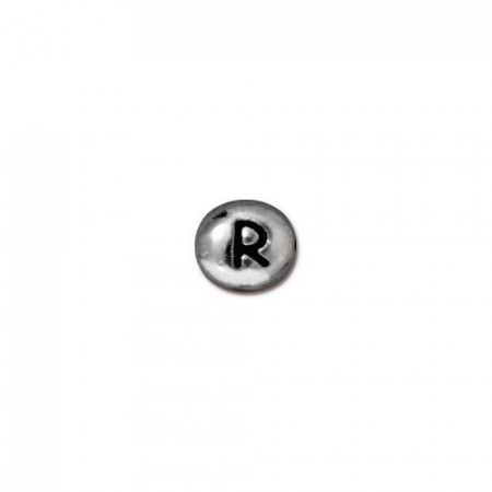 Бусина металлическая, двусторонняя с буквой английского алфавита R, родий, 6мм