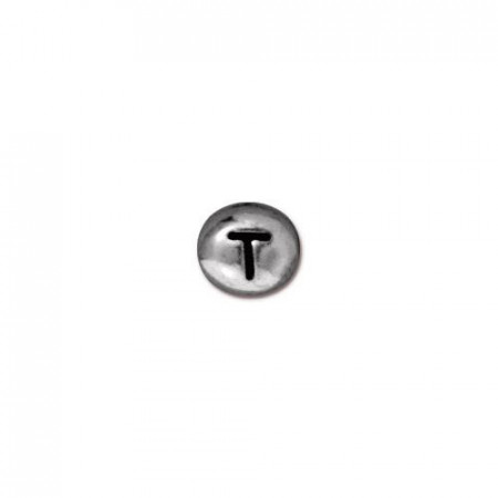 Бусина металлическая, двусторонняя с буквой английского алфавита T, родий, 6мм