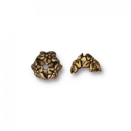 Шапочка обниматель для бусин, жасмин, бронзовая с чернением, 5х7мм