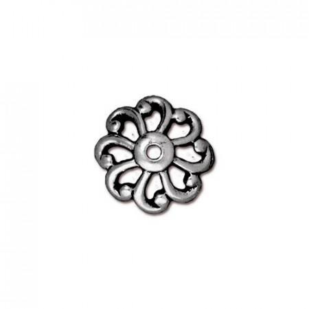 Шапочка (обниматель) для бусин, открытый зубчатый рельефный, посеребренная с чернением, 4х11мм