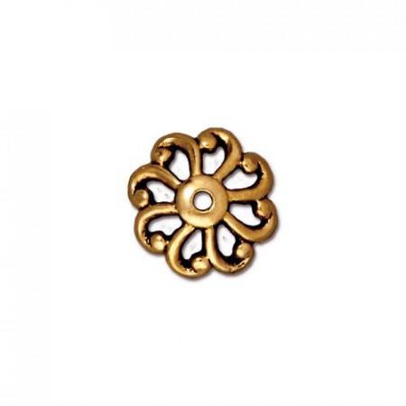 Шапочка (обниматель) для бусин, открытый зубчатый рельефный, позолоченная с чернением, 4х11мм
