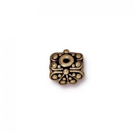 Шапочка (обниматель) для бусин, раджа, бронзовая с чернением, 5х8мм