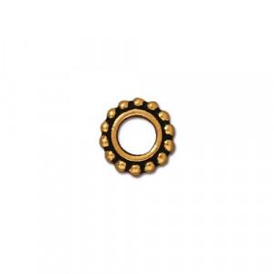 Рамка для бусин, круглая с пупырышками, позолоченная с чернением, 9мм/4мм