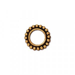 Рамка для бусин, круглая с пупырышками, позолоченная с чернением, 11мм/6мм
