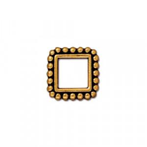 Рамка для бусин, квадратная с пупырышками, позолоченная с чернением, 11мм/6мм