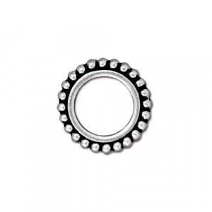 Рамка для бусин, круглая с пупырышками, посеребренная с чернением, 14мм/8мм