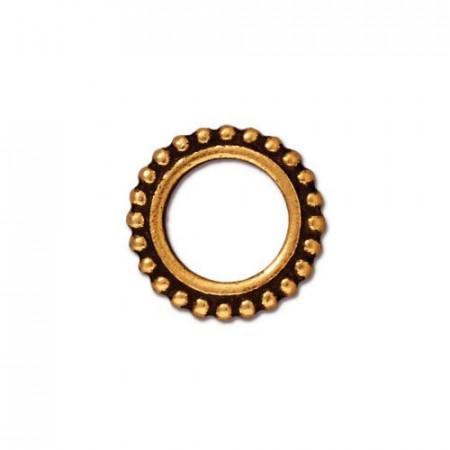 Рамка для бусин, круглая с пупырышками, позолоченная с чернением, 14мм/8мм